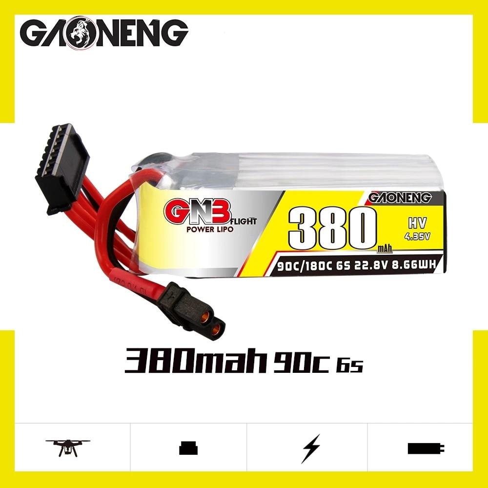 Gaoneng GNB 380 мАч 6S 22,8 в 90C/180C HV Lipo батарея XT30 разъем для FPV гоночного дрона радиоуправляемые модели мультикоптера рамка Запчасти