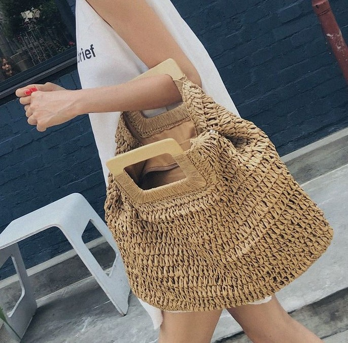 casual rattan large capacity totes for women wicker woven wooden handbags summer beach straw bag lady big purses travel sac 2020