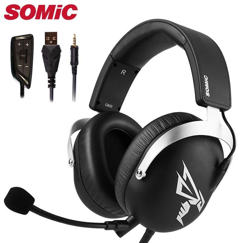 Auriculares Gaming con micrófono y USB de 3,5 MM, auriculares para teléfono PC, PS4, Xbox gamer, marca Original Somic G805