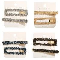 2pcsset korea headwear rectangular popular hair clips fashion woman rhinestone shiny hairpins clip tools barrettes jewelry