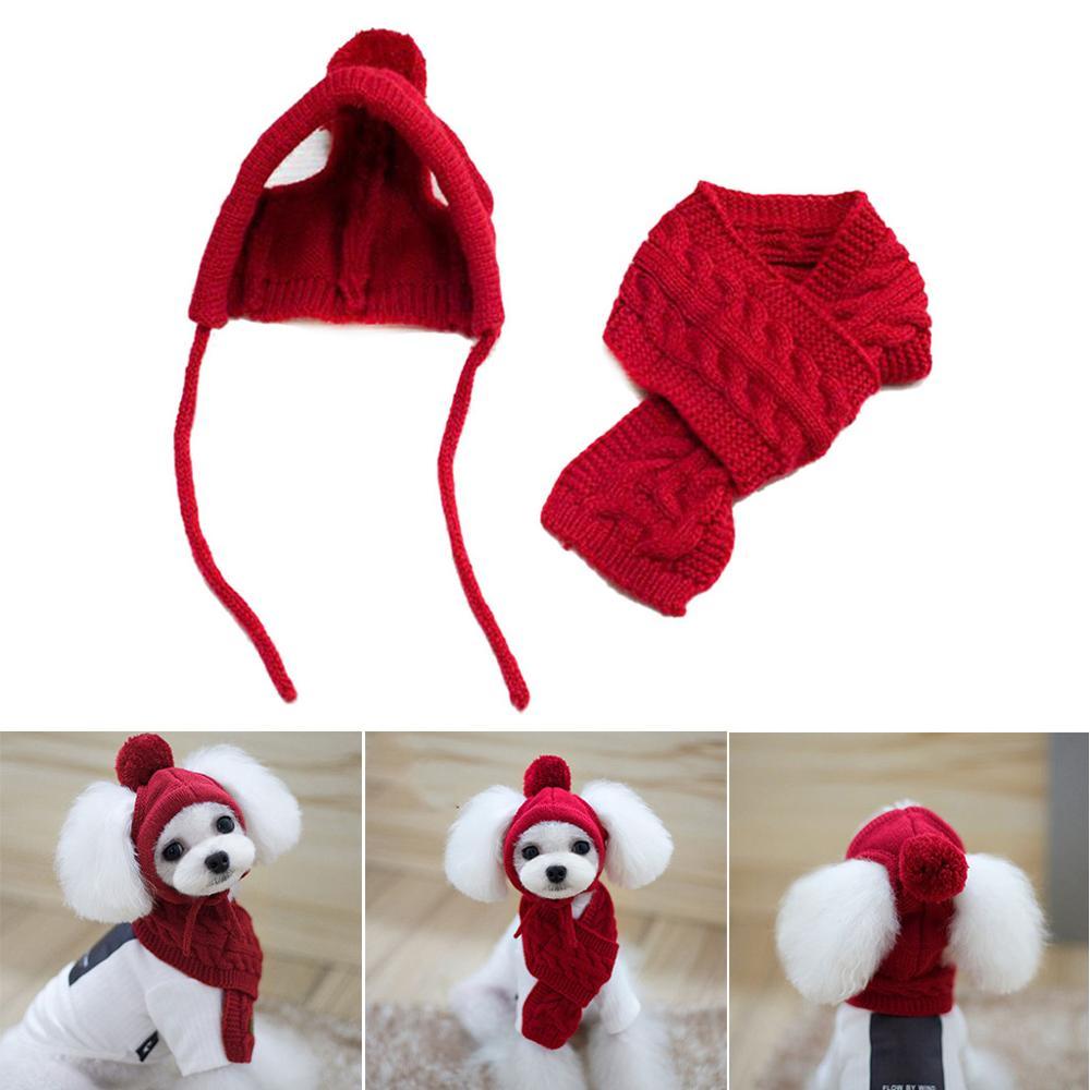 Korean Style Dog Hat Scarf Set Pet Wool Decoration Warm Clothing Winter Supplies