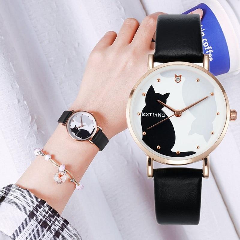 2020 Casual Leather Strap Wrist Watches Luxury Quartz Fashion Women Watches Bracelet Set Cat Pattern Black Watch Ladies Clock