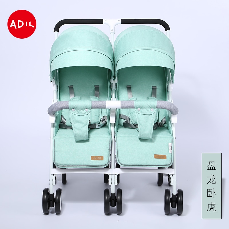 Twin Baby Stroller Lightweight Two-seater Size Treasure Two-child Artifact Can Sit And Lie Double Shock-absorbing Folding Cart