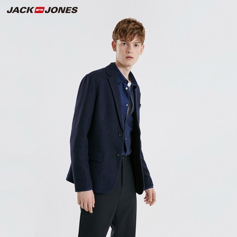 Jackjones blazer de lã masculina negócios estilo casual fino ajuste terno jaqueta masculina 219108504