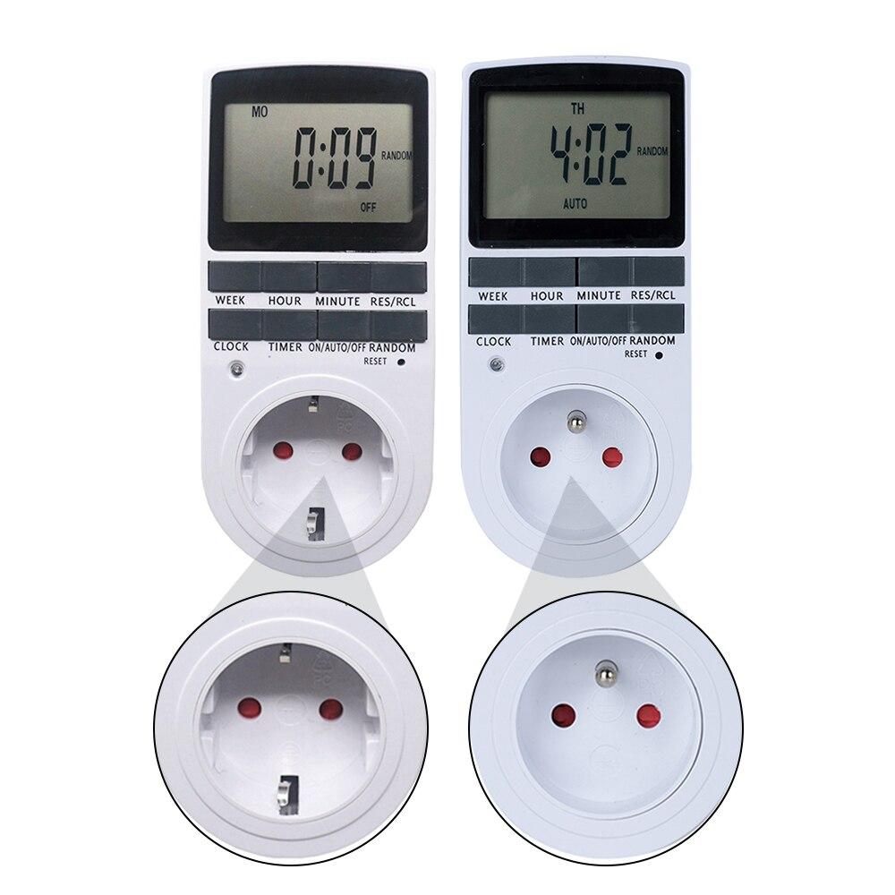 Digital Timer Switch 230V LCD Power Weekly Programmable Time Meter Relay Timer 12/24 Hours EU FR BR UK Plug Socket for Kitchen