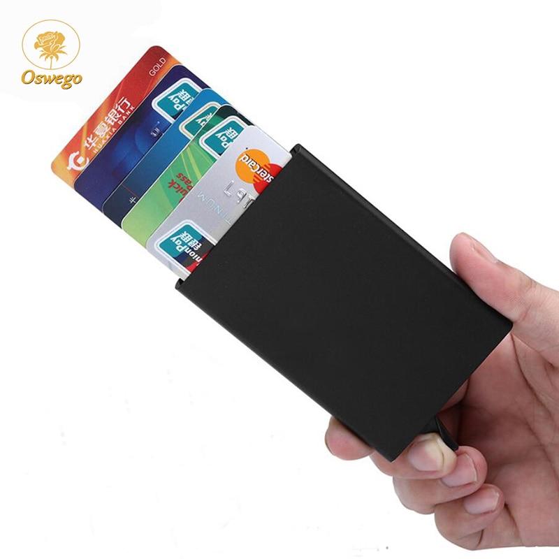 Oswego Alumínio Titular do Cartão de Crédito Dos Homens Magro Anti Proteger bolsa de Viagem Caso Do Cartão de Banco Caso do Cartão de IDENTIFICAÇÃO RFID Automática Unisex Mini carteira