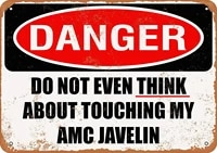 wallcolor 812 metal sign do not touch my amc javelin vintage look