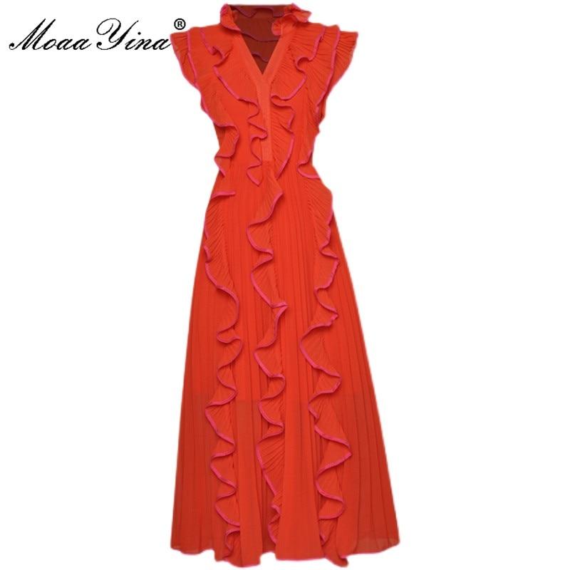 فستان MoaaYina للحفلات ، ملابس صيفية, فستان شيفون به فتحة رقبة على شكل حرف v مزود بكشكشة ، فستان متوسط الطول ، ثوب بلون واحد ، موضة جديدة 2021