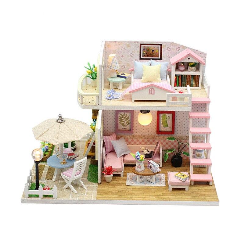 Casa de DIY para muñecas regalo del Día de San Valentín Fandai ático creatividad casa de muñecas hecha a mano regalo de cumpleaños
