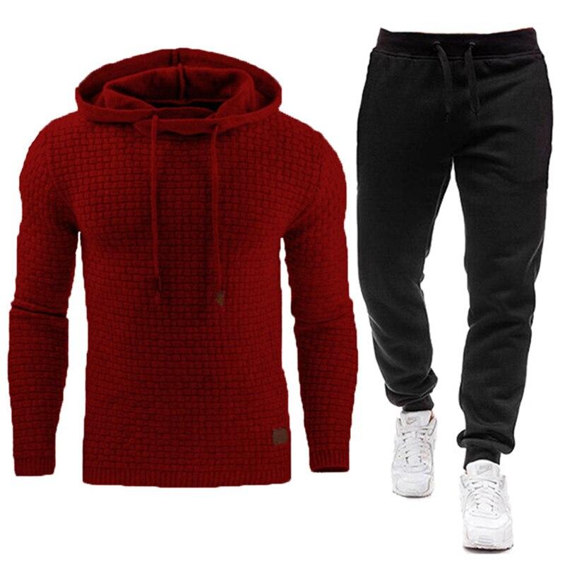 Зимний новый спортивный костюм для мужчин, брендовый мужской однотонный комплект из толстовки с капюшоном и брюк, мужской спортивный костю...