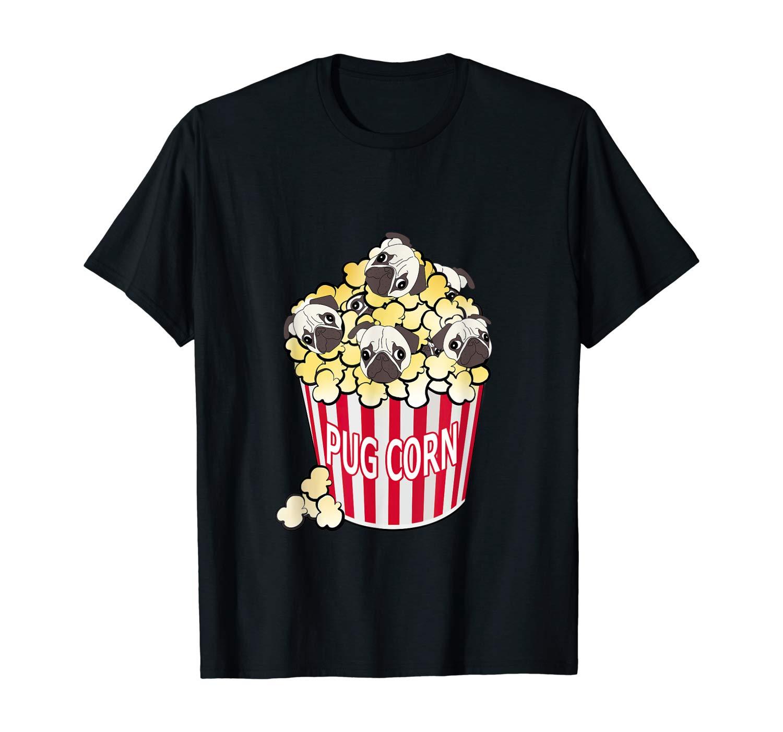 T-Shirt, Pug Corn, Cute Dog in Popcorn, Funny Puppy
