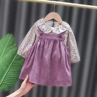 2021 new spring autumn floral topstrap dress 2pcs baby girl clothes toddler infant kid dress children clothes set