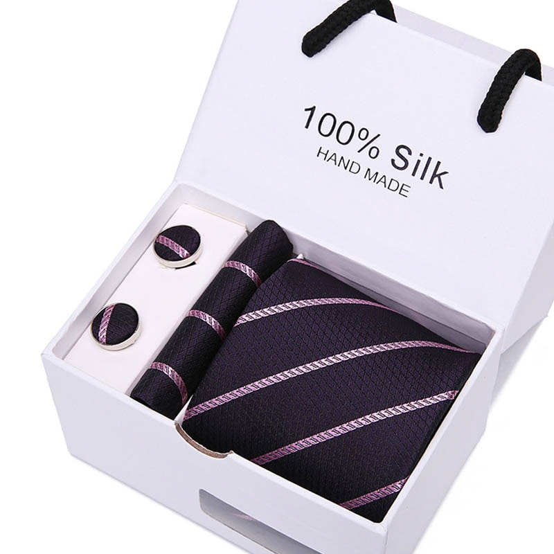 Novelty Men Ties Sets Hanky Cufflink  in Gift Box Stripes Paisley Dots Neckties Set Gravata Cortabata for men SB50