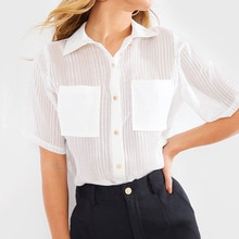 2020 frauen Sehen Durch Sommer Kurzarm Weiß Shirts Chiffon Gestreiften Sexy Sheer Casual Büro Damen Koreanische Blusen Top