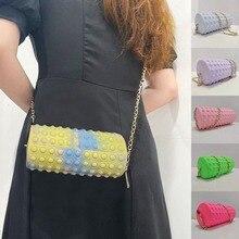 Cylindrical Silicone Zipper Crossbody Bags Push Bubble Fіdgеt Тоуѕ Fashion Chain Barrel-shaped
