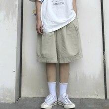 Shorts Womens Summer Streetwear Japanese Style BF Knee Length Wide Leg Loose Cargo Elastic Waist Harajuku Leisure Oversize New