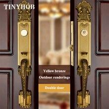 Luxe européen en bois massif Villa porte intérieure serrure porte extérieure Double ouvert jaune Bronze serrure de porte en bois