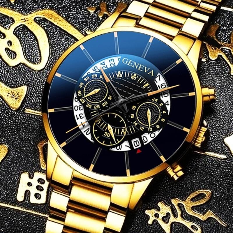 Men's Luxury Watch Reloj Hombre Relogio Masculino Stainless Steel Calendar Quartz Watch Men Sports Watch Clock Geneva Clock Hour 2020 fashion luxury diamond watches men rose gold stainless steel quartz watch man watch relogio masculino reloj hombre