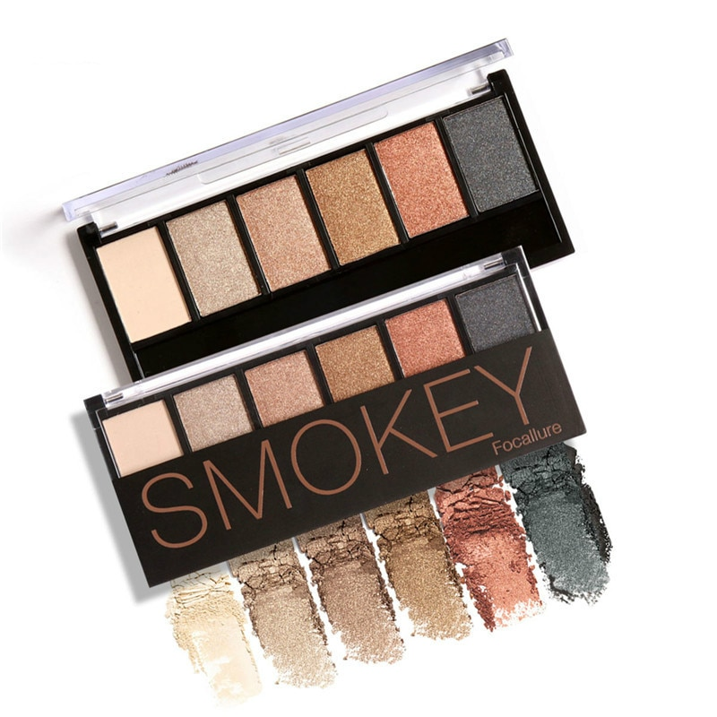 Focallure 6 cores paleta de sombra glamourosa smokey sombra de olho shimmer cores maquiagem kit smokey pigmentado cor suave seda