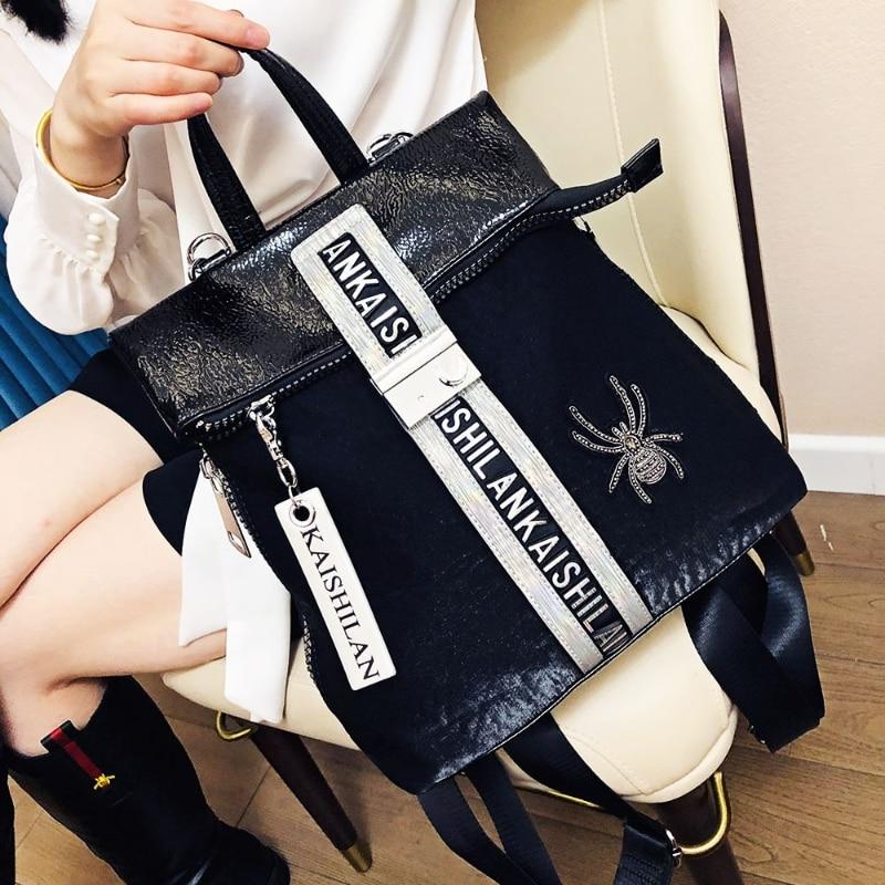 Rhinestone Backpack Purse for Women Shoulder Bags 2021 New Letter Animal Print Sac A Dos Travel Large Capacity Bolsa Feminina