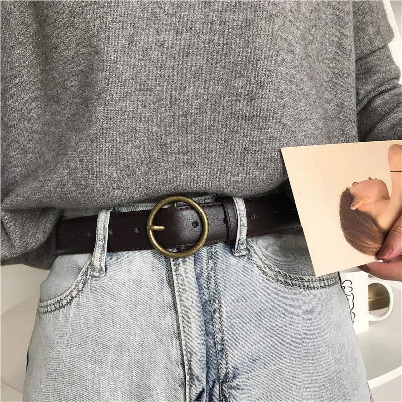 Round Buckle Retro Distressed Female Korean Versatile Universal Student Black Casual Wide Belt Jeans