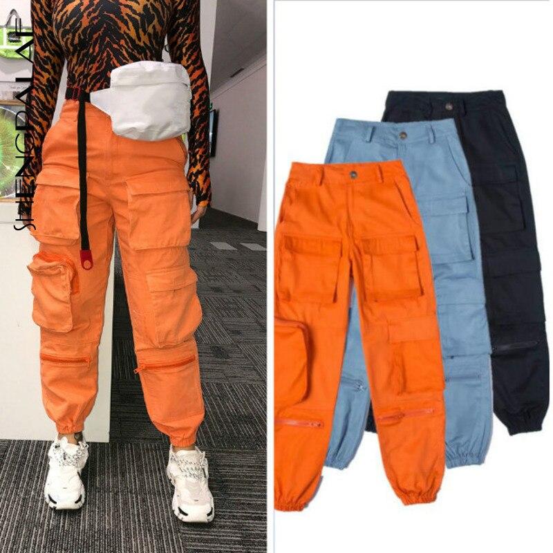Shengpalae 2020 3 cores primavera vintage retalhos joggers sweatpants harajuku mulher calças elásticas calças de cintura alta za2800