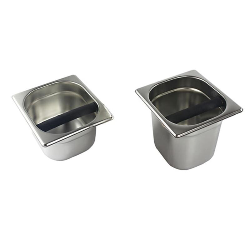 2 قطعة مجموعة الفولاذ المقاوم للصدأ إسبرسو صندوق طحن قهوة الحاويات مع شريط مطاطي ل ماكينة القهوة