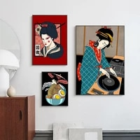 japanese dj geisha ramen posters abstract beauty canvas painting wall art pictures food restaurant kitchen home decor cuadros