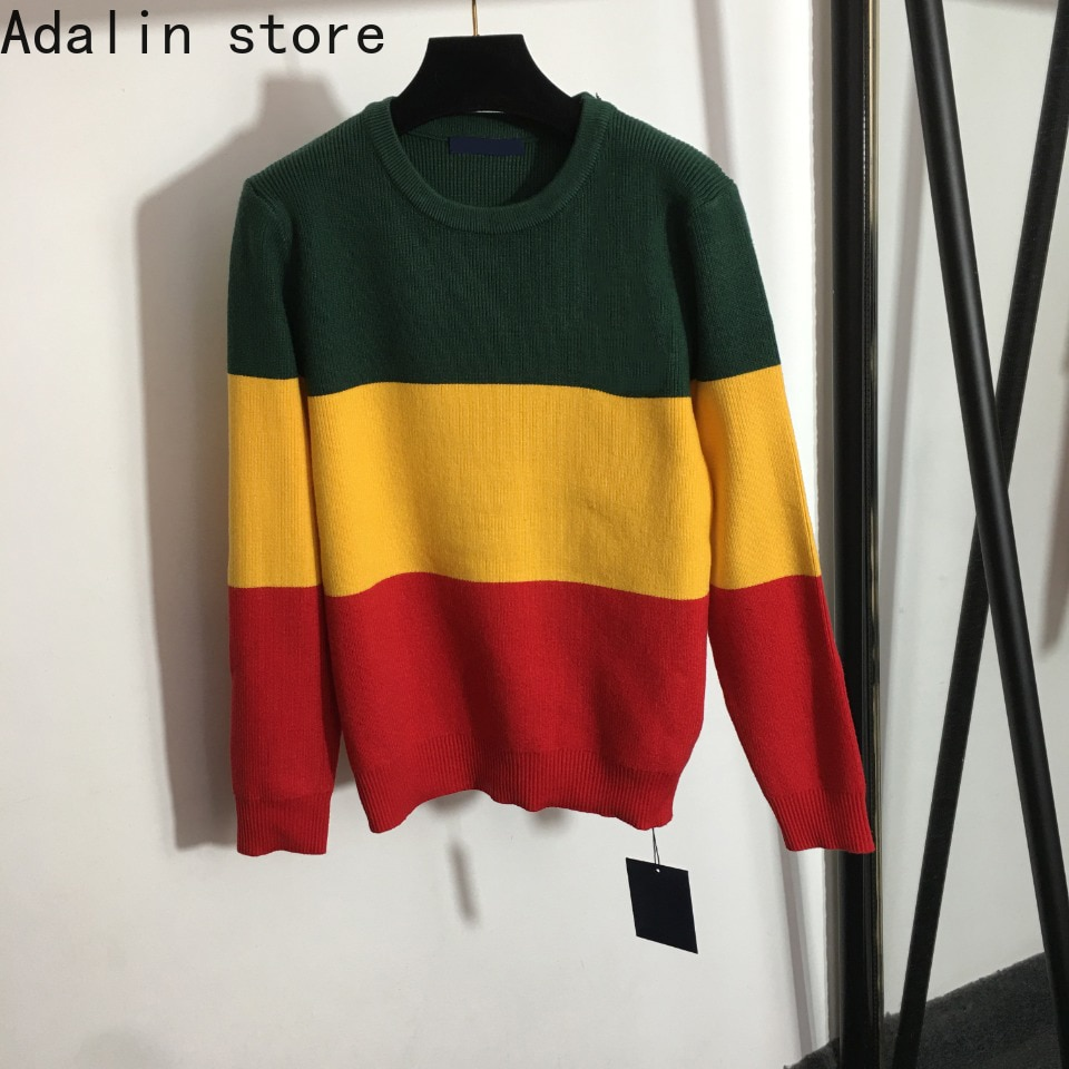 2021 high quality autumn new fashion women's contrast splicing crew neck Pullover Sweater versatile personalized knitted sweater enlarge