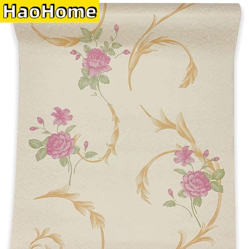Настенная бумага HaoHome с цветочным рисунком, настенная бумага с рисунком розы, самоклеящаяся Съемная контактная бумага для полки, ящиков, дом...