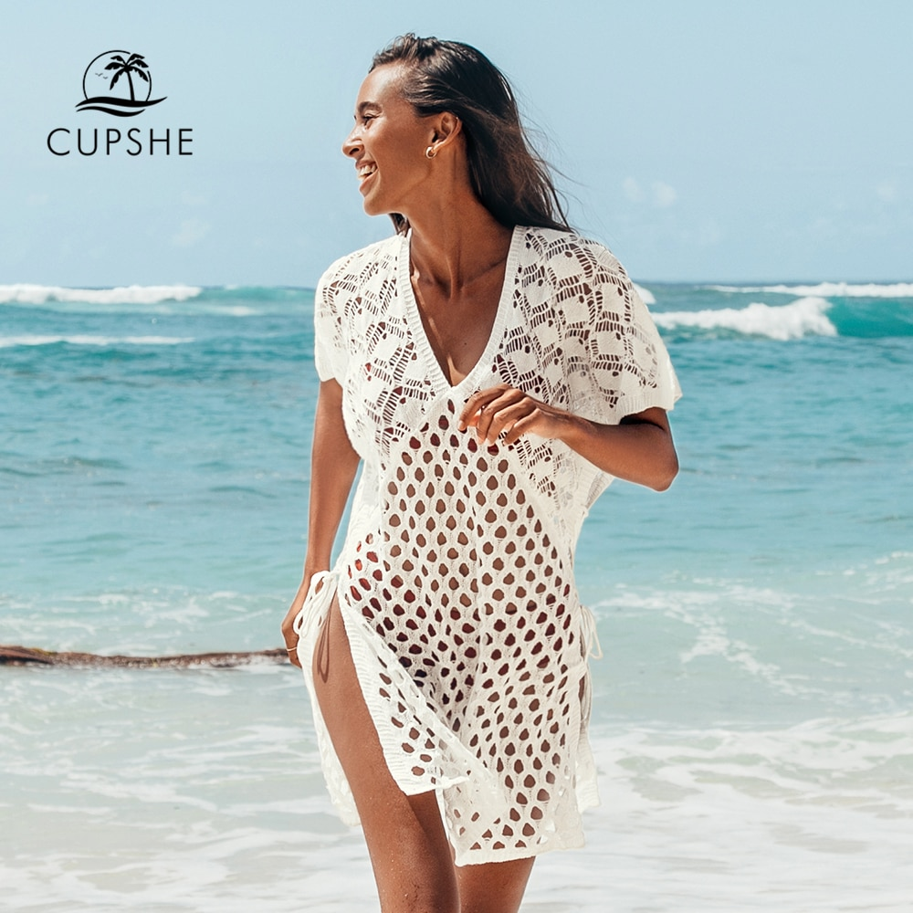 CUPSHE Apricot Honeycomb Lace Up Tunic Cover Up Woman Sexy V-neck Hollow Beach Mini Dress 2021 Summer Bathing Suit Beachwear