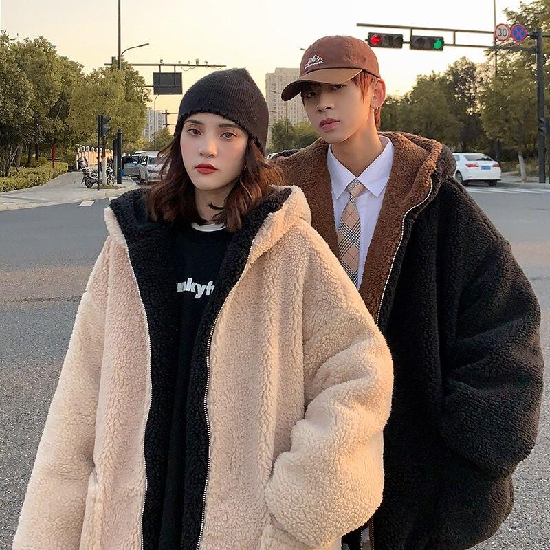 Winter Thick Lamb Fur Jacket Men's Warm Fashion Casual Retro Hooded Coat Men Clothes Loose Korean Couple Short Coat M-3XL