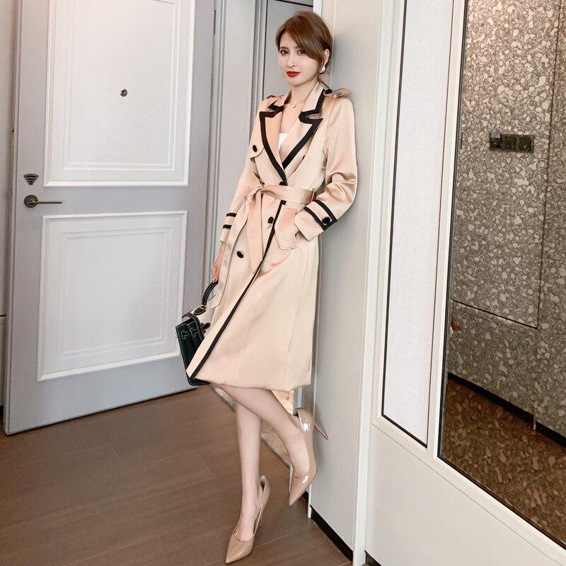 معطف نسائي بأكمام طويلة ، معطف مكتب OL ، موضة ربيعية جديدة ، معطف متوسط الطول بجيوب للسيدات ، 2021