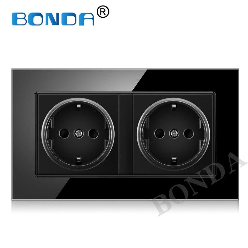 BONDA EU Standard Wall Power Socket,3colors Crystal Glass Panel,socket German standard 2 hole 16A Wall Outlet AC110-250V ,146*86