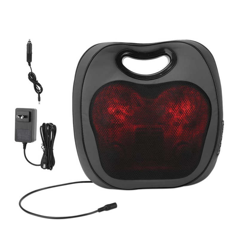Electric Massage Pillow Car Lumbar Massager Adjustable Heating Massager Cushion US Plug 100-240V (PU Leather Style) enlarge