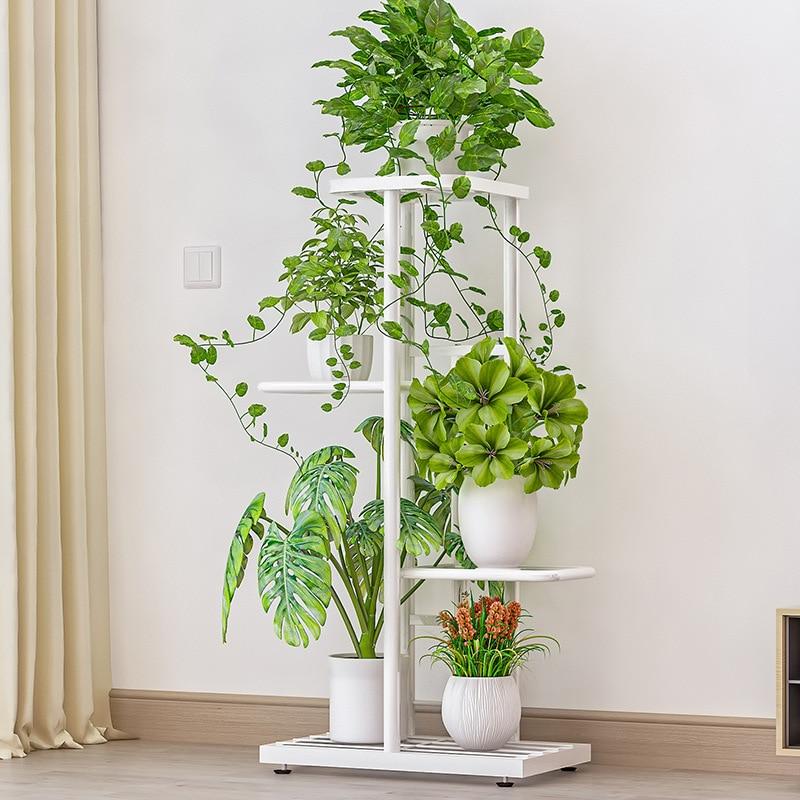 Flor estande prateleira casa varanda rack de ferro metal sala de estar simples vaso de flores multi-camada plantas rack