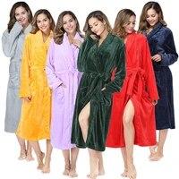 women winter oversize long thick fleece bathrobe kimono warm flannel bath robe lapel robes night sleepwear women dressing gown