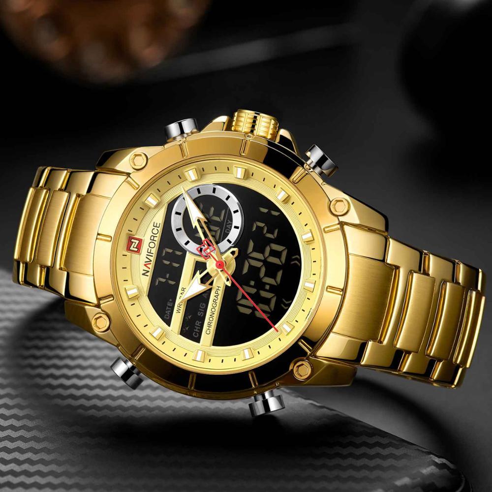 NAVIFORCE Men Military Sport Wrist Watch Gold Quartz Steel Waterproof Dual Display Male Clock Watches Relogio Masculino 9163