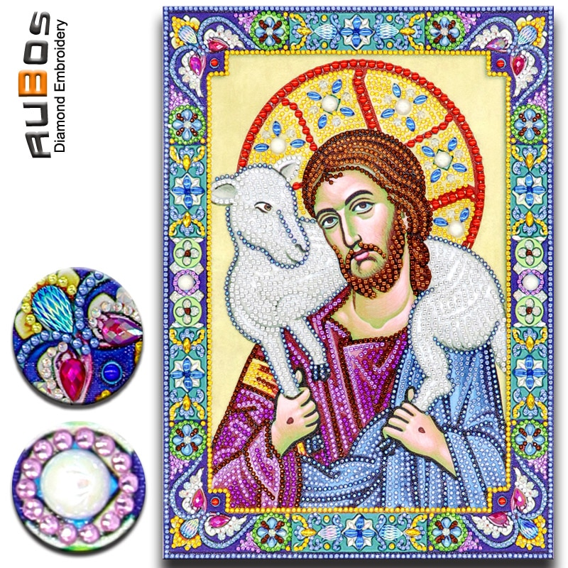 Rubos 5d diy diamante pintura ícone do salvador bom pastor diamante bordado mosaico parcial grande grânulo pérola pedra venda conjunto