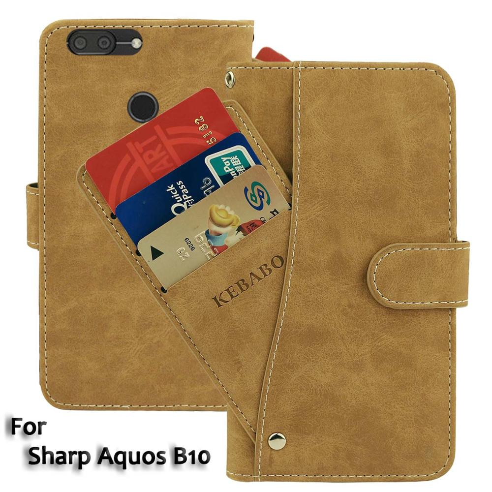 "Cartera de cuero Vintage para Sharp Aquos B10 funda 5,7 ""Flip lujo tarjeta ranuras cubierta imán soporte teléfono bolsas protectoras"