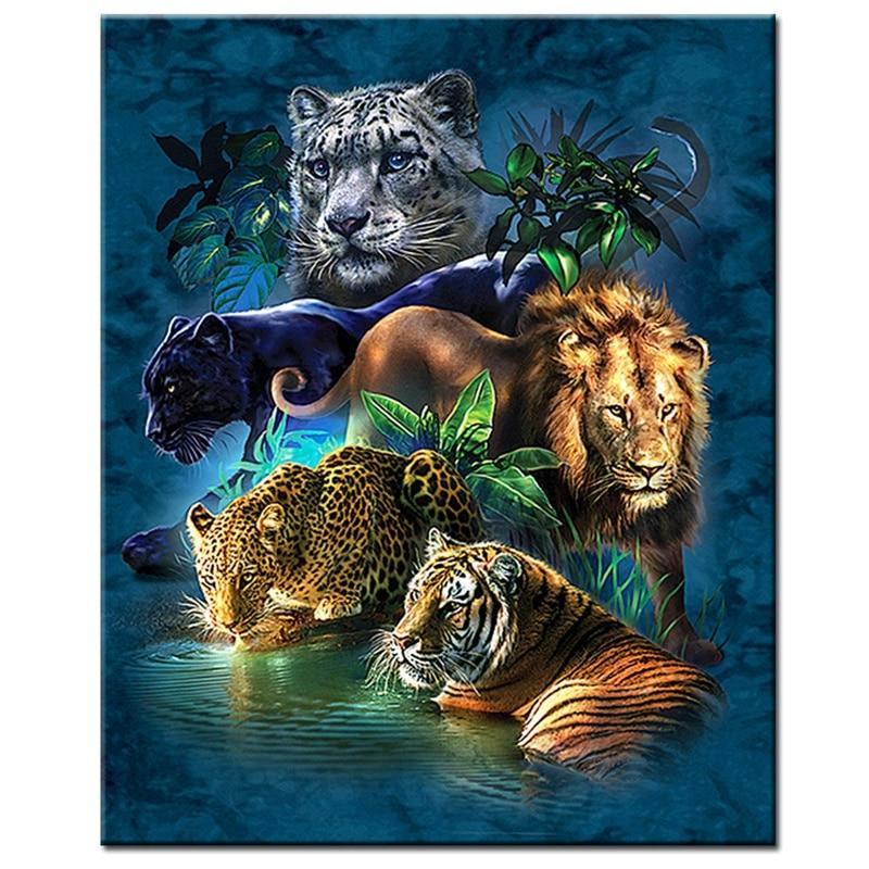 Cat Family,Animals,Lion,Tiger, Diamond Embroidery Square/Round Diamond Painting Cross Stitch Diamond Picture Decoration