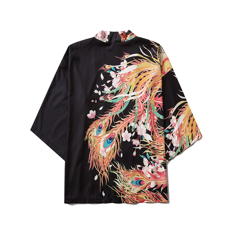 Kimono de 10 estilos con estampado de Fénix Harajuku Kimono japonés de moda para mujeres y hombres blusa cárdigan Haori Obi ropa asiática Samurai