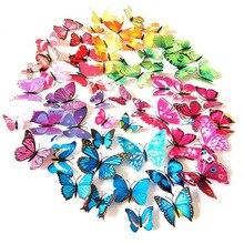 60 Teile/satz 3D PVC Doppel Schmetterling Wand Aufkleber Schmetterling auf der wand Home Decor Neue Ankunft Fridage aufkleber Dekoration