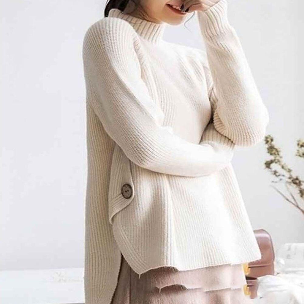 Suéteres y jerseys para mujer, moda coreana, Irregular suelto de Cuello medio alto, holgado, combina con todo, sólido, grueso, novedad de 2021
