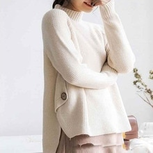 2021 Women Sweaters And Pullovers New Korean Fashion Half Turtleneck Irregular Loose Lazy All-match