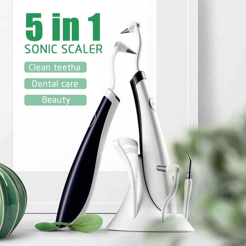 Raspador Dental de ondas de sonido eléctrico 5 en 1, raspador de manchas de dientes, removedor de manchas de dientes, blanqueador de dientes, herramientas de limpieza de escaladores
