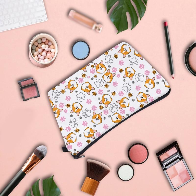 Cartoon Cosmetic Bag Corgi Print Travel Toiletry Lovely Multifunctional Storage Waterproof Zipper Clutch Makeup Tools