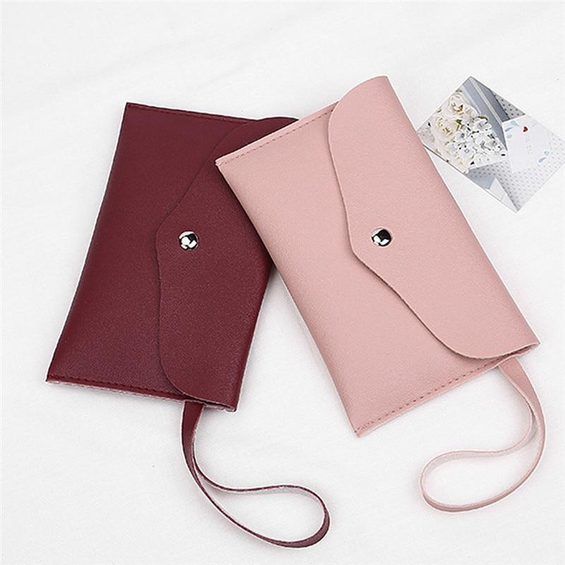 Zipper Women Leather Slim Wallet Female Purse Clutch Thin Wristlet Phone Coin Credit Card Holder Han
