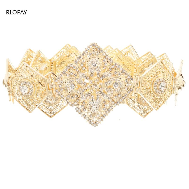 Rlopay nova moda marroquina kaftan cintos de cristal cultivados cintos para mulheres árabe ouro cintura corrente