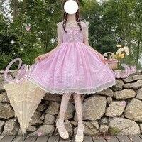kawaii sleeveless straps plaid dress soft sweet lolita jsk uniform princess dress summer japanese girly cute bow cosplay costume